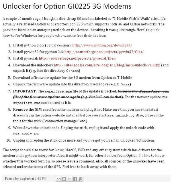 Krok po kroku - ściąganie simlocka z modemu Option GIO225