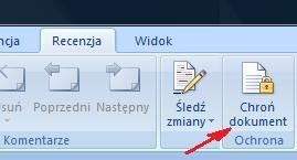 Należy z menu recenzja wybrać Chroń dokument